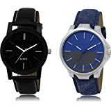TULIPS FASHION Analogue Black Dial Men's and Women's Watch Combo