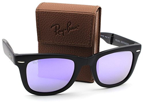 Ray-Ban RB4105 601S4K Wayfarer Folding Matte Black Frame / Lilac Mirror Lens - Wayfarer Ray Bans Purple