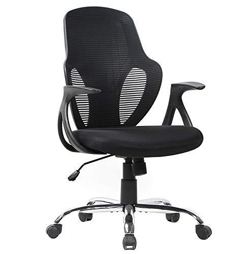 Smugdesk Mid Back Mesh Chair Ergonomic Desk Computer Swivel Office Chair, Black, Alien Face