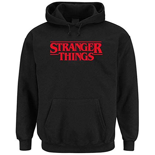 Stranger Things Men's Letter Printing Casual Slim Fit Long Sleeve Pullover Hoodies Sweatershirt Tops Black