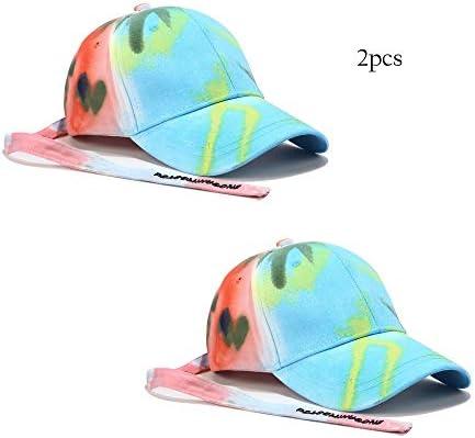 Yokst Pack de 2 - Hombres Niños Niñas Gorra de béisbol Multicolor Protección Solar Visera Grande Algodón Sombreros for el Sol Sombreros Respirables Deportes al Aire Libre Ciclismo Tenis Golf Gorra de: