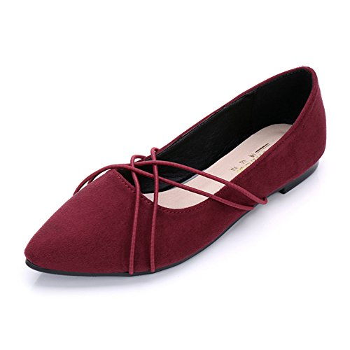 Btrada Womens Fashion Flat Dress Shoes Elastic Band Loafers Penny Shoes Pointed Toe Ballet Boat Shoes Red RYQA1No