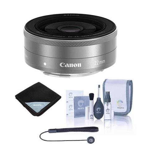 Canon EF-M 22mm f/2 STM Lens Silver - Bundle with Cleaning Kit, Lens Wrap (15x15), Lenscap Leash