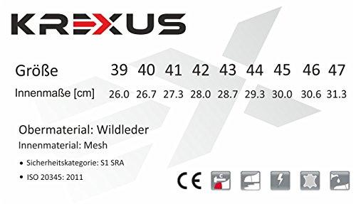 KREXUS Herren Sportliche Sicherheitsschuhe Kunststoffkappe Leicht & metallfreier S1 SRA - ISO 20345:2011
