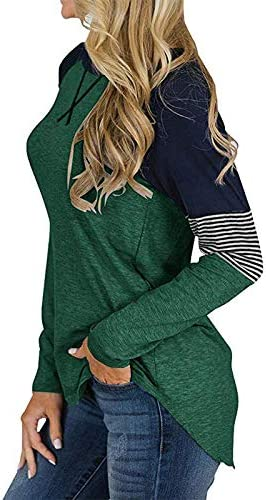 Jzenzero Women Long Sleeve Stitching Tops Round Neck Casual Loose Ladies T-Shirt
