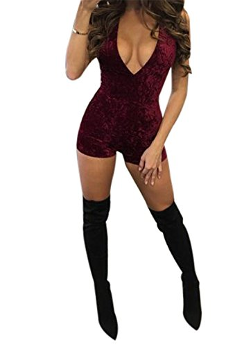 Moxeay Sexy Women Sleeveless Deep V Neck Bodycon Jumpsuit Romper (Small, Jujube red) (Velvet Onesie)
