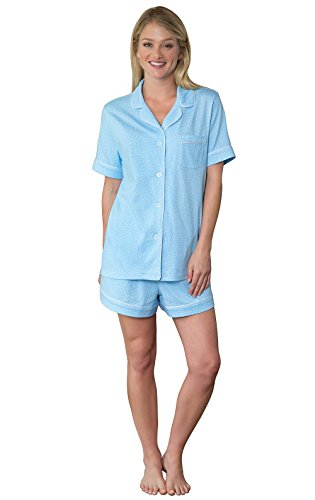 Blue Cotton Pajama - PajamaGram Womens Pajamas Soft Cotton - Pajama Shorts for Women, Blue, XL, 16
