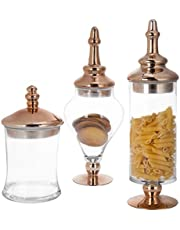 MyGift Antique-Style Glass Apothecary Jars with Lids, Set of 3