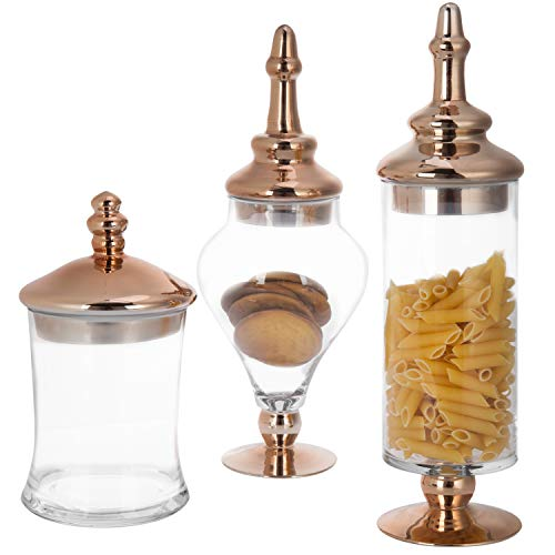 MyGift Set of 3 Antique-Style Glass Apothecary Jars with Metallic Copper-Tone Lids
