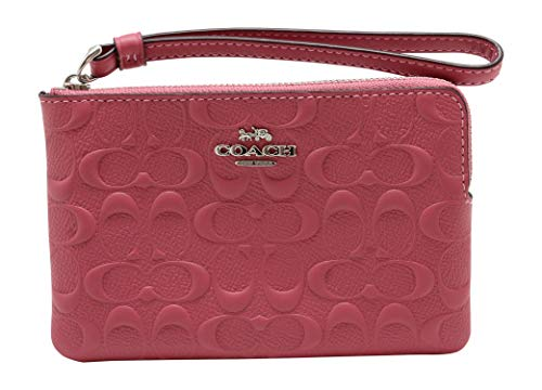 Coach Corner Zip Wristlet In Signature Leather Strawberry