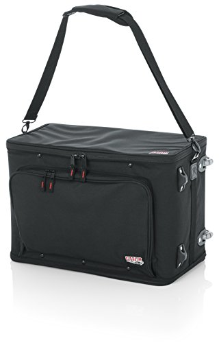 Gator Cases Lightweight Rack Bag with Removable Shoulder Strap, Pull handle, and Wheels; 4U Rack - 12.5