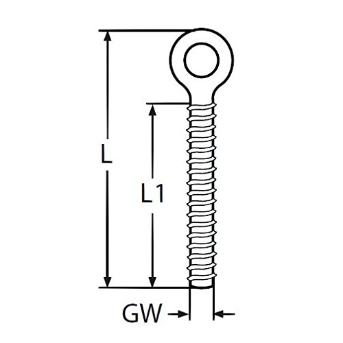 1 St/ück M16 x 189 mm Edelstahl V4A /Ösenschraube Ringschraube Augenschraube Augbolzen