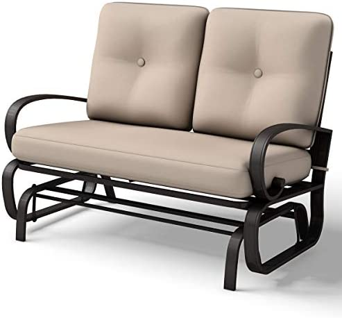 Giantex Loveseat Outdoor Patio Rocking Glider Cushioned 2 Seats Steel Frame Furniture Beige