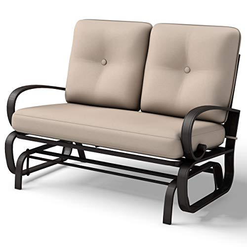 Giantex Outdoor Patio Rocking Bench Glider Loveseat Cushioned 2 Seats Steel Frame Furniture - Glider Outdoor Bench