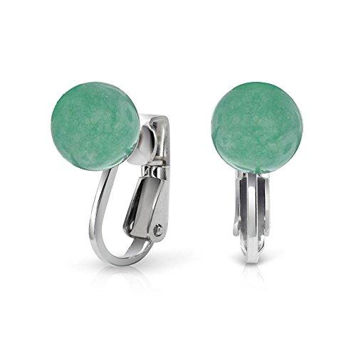 Green Bead Clip Earrings - .925 Silver Dyed Green Aventurine Ball Bead Clip On Earrings