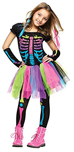Girl's Funky Bones Costume Tween Girl's Neon Skeleton Halloween Costume (8-10 years)