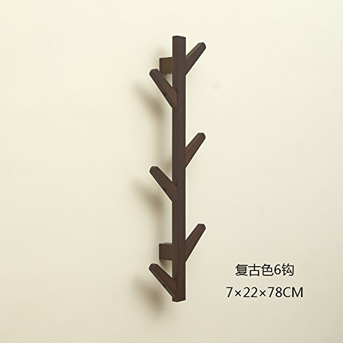 Creative bedroom solid wood coat rack bag rack simple European-style wall mount hanger on the wall decoration,Retro colors