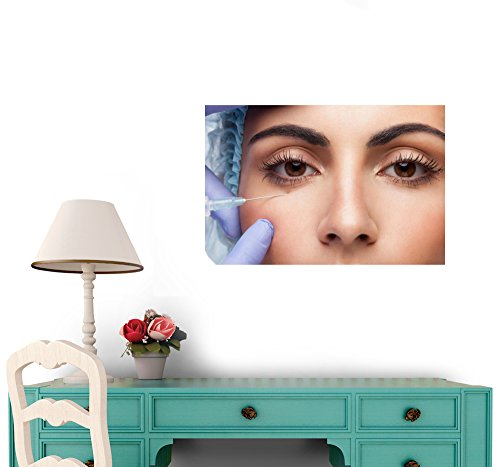 Wallmonkeys WM273631 Cosmetic Botox Injection to the Pretty Woman Face Peel and Stick Wall Decals (24 in W x 16 in H)