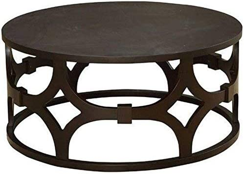 Armen Living LCTUCO Tuxedo Coffee Table with Brown Wood and Brown Metal Finish