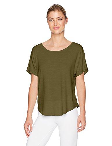 Danskin Women's Dolman Sleeve Criss-Cross Back Top, Olive, L - Danskin Green Shirt