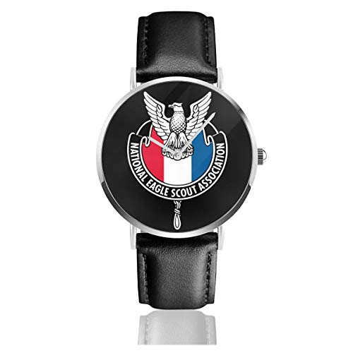 YRAI National Eagle Scout Association Black Leather Strap Watches Casual Fashion Wrist Watches