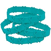 24 Teal Awareness Pop-Out Bracelets Ovarian cancer, cervical cancer, uterine cancer, Anxiety disorders