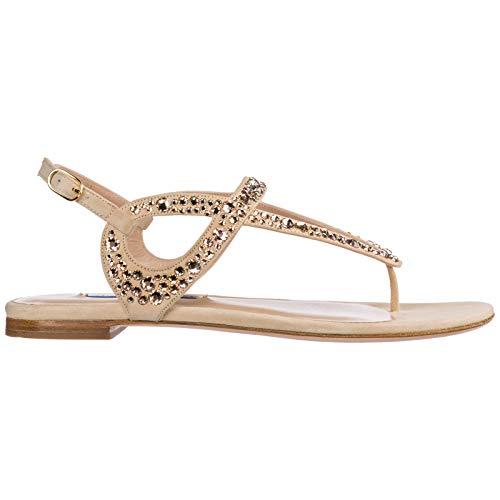 Stuart Weitzman Women Allura T-bar Sandals Dolce Suede/Crystal 6.5 US