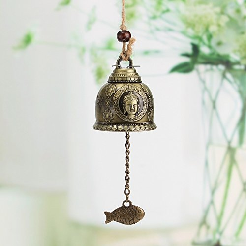 Raza Vintage Buddha Statue Pattern Bell Blessing Feng Shui Wind Chime for Good Luck Fortune Home Car Crafts Hanging Decoration Gift