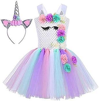 فستان يونيكورن للفتيات الصغار لحفلات أعياد الميلاد وحفلات الأميرات من التول مزيّن بتنورة رقص بألوان قوس قزح مع عصابة رأس
