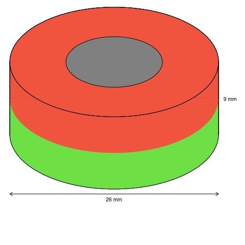 Ringmagnet /Ø 26,0 x 12,0 x 9,0 mm N45 Nickel h/ält 15,4 kg Neodym Supermagnet Powermagnet Haftmagnet