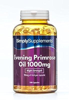 Aceite de onagra 1000 mg - ¡Bote para 6 meses! - 180 Cápsulas - SimplySupplements: Amazon.es: Salud y cuidado personal