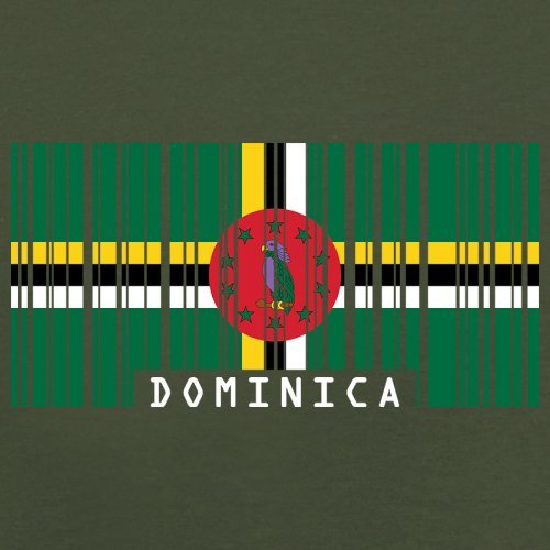 Dominica Barcode Flagge - Herren T-Shirt - Olivgrün - M