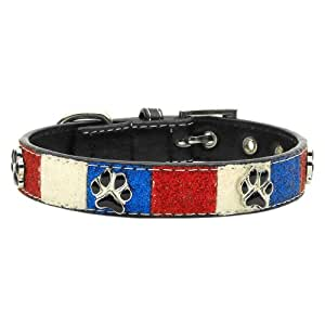 Mirage Pet Products Patriotic Ice Cream Paws Dog Collars with 3/4-Inch Matching Leash for Dogs, Large
