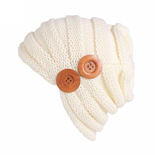 f9b45f11276 iYBUIA Women Ladies Solid Winter Button Knitting Hat Turban Brim Hat Cap  (Beige
