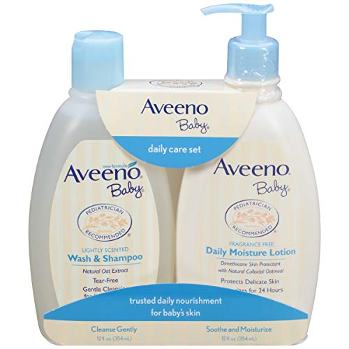- Aveeno Baby Gentle Moisturizing Daily Care Set, Natural Oat Extract, Natural Colloidal Oatmeal, 2 Items