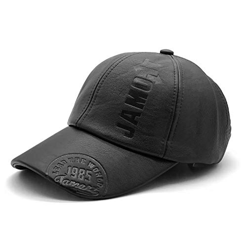 NALITARE Baseball Cap Leather PU Hat with Adjustable Strap for Men Outdoor Warmer Caps Winter Hats