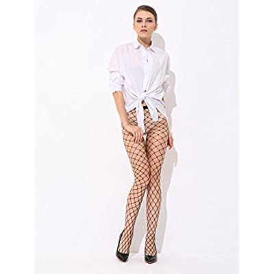 Pareberry Women's High Waisted Fishnet Tights Sexy Wide Mesh Fishnet Stockings (Black(Big Hole)) at Women's Clothing store
