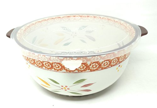 Temp-tations 4 Qt Mixing or Serving Bowl w/ Plastic Cover (Also Cake Dome Replacement) (Old World Fallfetti)