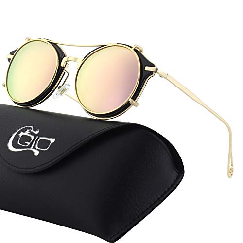 CGID Clip on Sunglasses Polarized Steampunk Metal Retro Circle Double Lens UV400 Vintage Round Mirror Lens Men and women
