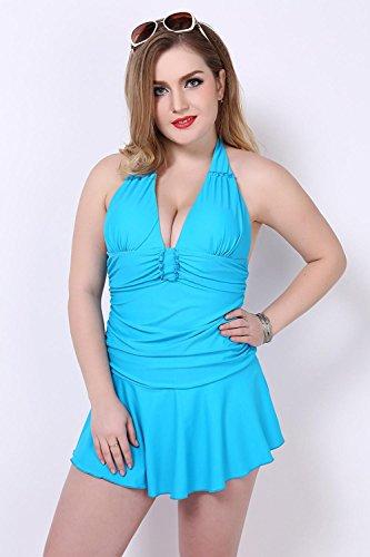 HZZ Tankini de las mujeres más el tamaño de traje de baño Establece Un vestido de la nadada del cuerpo ropa de playa que forma la pieza con Corto days blue