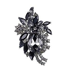 Rhinestone Crystal Flower Teardrop Brooch Pendant