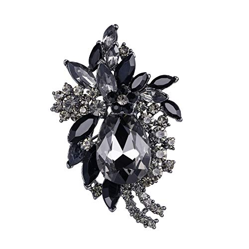 EVER FAITH Women's Rhinestone Crystal Vintage Style Flower Teardrop Brooch Pendant Black Black-Tone