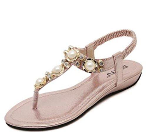 perles fille plat Flops été Sandales Tongs pink flip femmes Flattie Bohême Ohmais sandale avec dames Uw1xfCOxq
