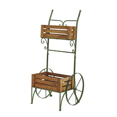 (Scandinavian Retro Color Two-Story Cart Wrought Iron Decorative Flower Shelf More Meat Shelf Display Balcony Garden Decoration Two-Tier Cart Flower Rack)