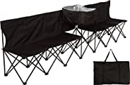 10' Portable Folding Team Sports Sideline Bench with Attached Cooler & Full Back by Trademark Inn