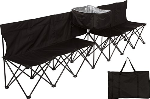 10' Portable 6-Seater Folding Team Sports Sideline Bench with Attached Cooler &...