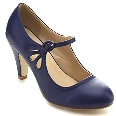 Chase & Chloe Kimmy-21 Women's Round Toe Pierced Mid Heel Mary Jane Style Dress Pumps (5.5 B(M) US, Blue Navy)
