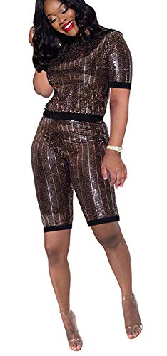 (Vamvie Women Sexy 2 Piece Sequin Club Wear Outfits Sparkle Ribbed Stripped Short Pullover and Pants Set Brown XL)