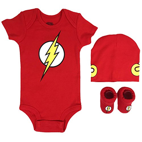 DC Comics Baby Boys Superman, Wonder Woman, Flash, Batman 3-pc Set in Gift Box, red, 0-6 -