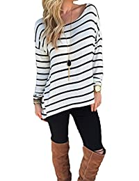Halife Women's Round Neck Striped Stretch Basic T Shirt...